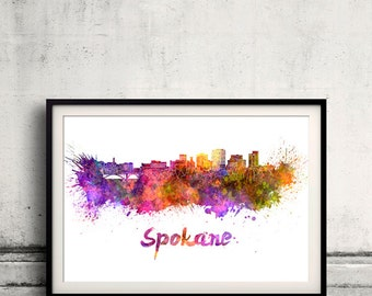 Spokane skyline in watercolor over white background with name of city - Poster Wall art Illustration Print - SKU 1522