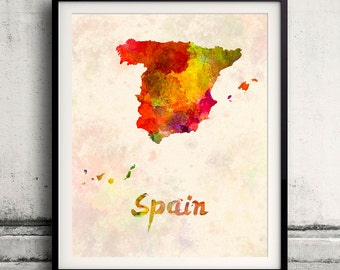 Spain - Map in watercolor - Fine Art Print Glicee Poster Decor Home Gift Illustration Wall Art Countries Colorful - SKU 1709