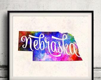 Nebraska - Map in watercolor - Fine Art Print Glicee Poster Decor Home Gift Illustration Wall Art USA Colorful - SKU 1758