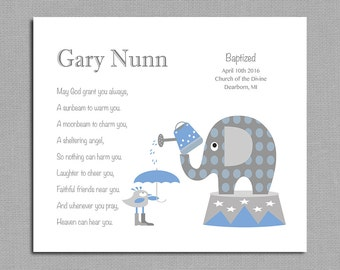 Baby Boy Baptism Gift - Christening Gift - Circus Elephant Nursery Decor - Religious Gift - Gift from Godparents - Choice of Poems