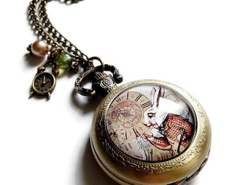 sautoir necklace Pocket Watch * Alice in Wonderland - white rabbit to the watch *, cabochon glass and bronze