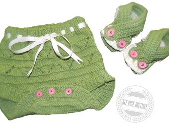 knitted diaper cover and sandals set photo prop ANY COLOR
