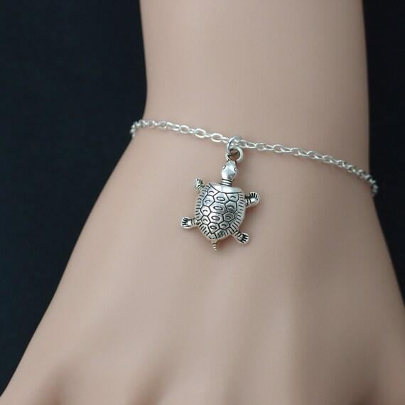 turtle bracelet silver turtle charm animal jewelry by vespestudio