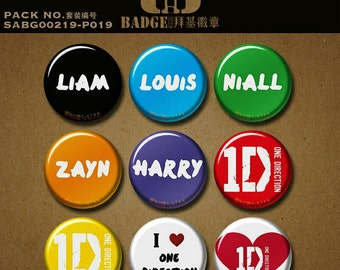 "One Direction inspired fandom button pin magnet 1.5""/37mm badge 1D logo Harry Styles Louis Tomlinson Liam Payne Zayn Malik Niall Horan"
