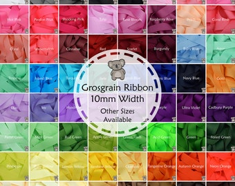 """Grosgrain Ribbon 1 3 or 5 Metre Cut of 10mm - (3/8"""") in 64 Plain Solid Colours"""