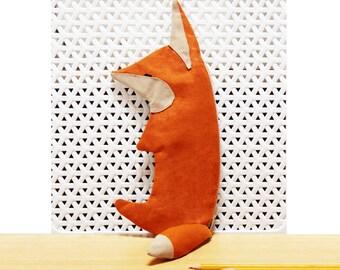 Red Fox Pencil Case - Zipper Pouch - Cute Make up bag - Original design Organic Pencil holder - Stylized animal bag - Woodland - Organizer