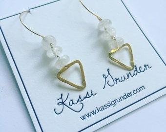 Divine feminine quartz and gold earrings