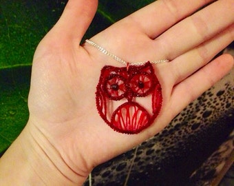 During owl red ruby string Necklace / Delicate Jewellry / Spring necklace, 3d print, bird