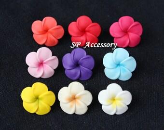 flower earrings, colorful earrings, earrings clay, stud earrings