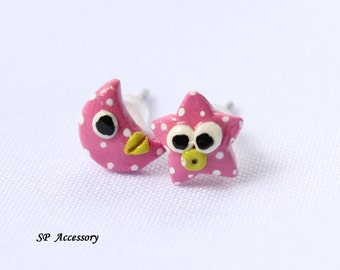 Miniature Star Moon Earrings, pink star, pink moon, earrings clay, clay stud, pink clay earrings, fancy clay stud