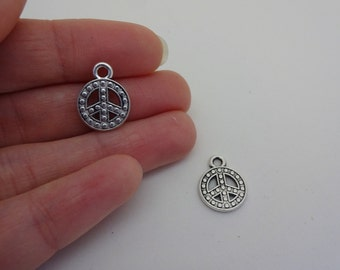 2 silver plated peace signs charms pendants DIY bracelets and necklaces jewellery making charms