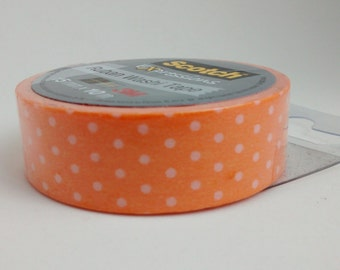 Orange Washi masking tape with white polka dots 10 m decorative crafting tape washi tape cardmaking tape scrapbook tape birthday washi