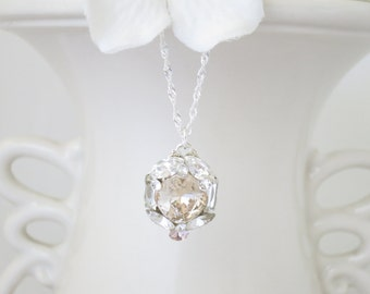 Swarovski crystal wedding necklace, Simple champagne pendant bridal necklace, Light silk cushion cut necklace