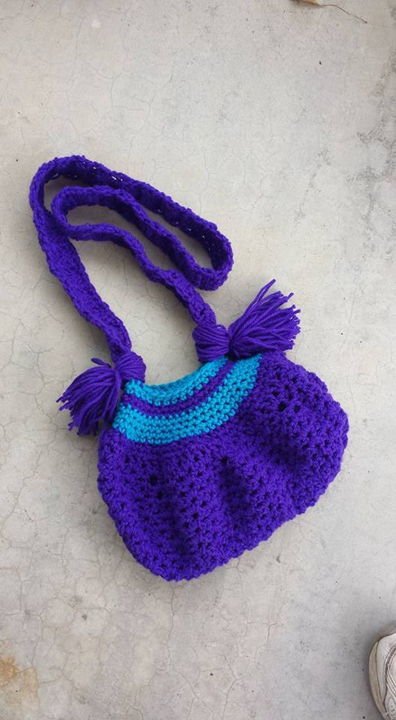 Crochet Hippie Bag : ... Purse, Crochet Purple Bag, Boho Handbag, Boho Pouch Purse, Hippie Bag