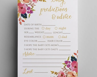 Floral baby predictions advice instant download botanical printable predictions baby shower games gold advice for parents spring flowers