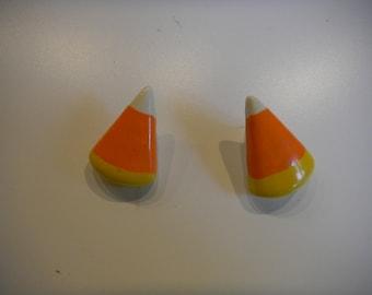 Candy Corn Halloween Pierced Earrings
