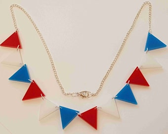 Bunting Necklace Red/White/Blue - Acrylic