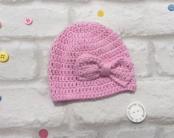 Baby hat with bow, newborn, 0-3 months, cute, pink, girl, going home outfit, baby gift, baby shower.