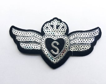 Silver S Wings Sequin Iron on Patch (M) - Sequin Crown & Wings Silver ,Glitter Applique Iron on Patch - Size 10.0x5.8 cm