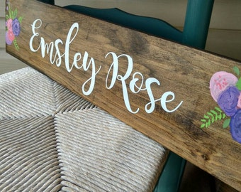 Childrens personalized name sign, baby girl gift, Newborn gift, baby shower gift, personalized childrens decor, newborn