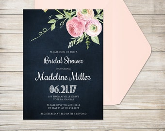Bridal Shower Invitation, Printed Invitation with Envelope, Blush Pink Watercolor Flower Bridal Shower
