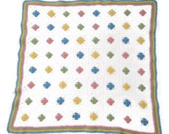 Crocheted Granny Square Baby Blanket, crochet baby blanket, baby shower gift, lap blanket, square blanket