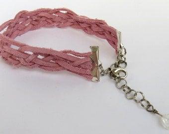 Suede Cord Bracelet-Pink Braided