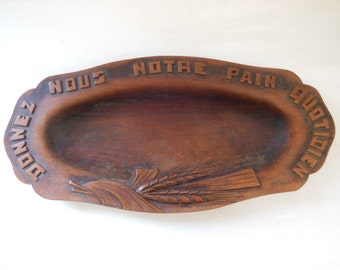 Vintage French religious bread BOARD TRAY DISH Hand carved wood . Signed by the artist N2