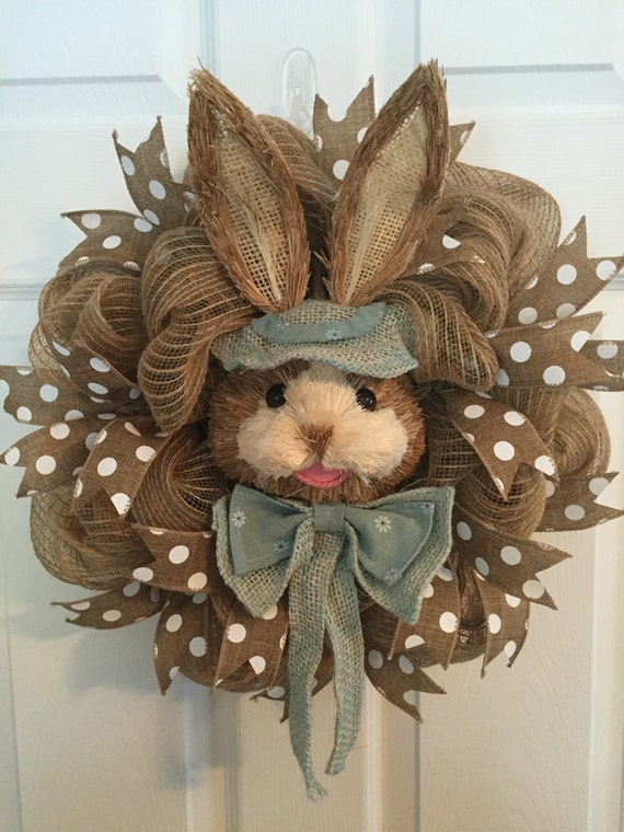 Easter Wreath Poly Jute Burlap Deco Mesh Wreath Natural