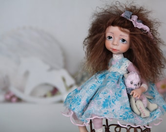 """Collectible Doll Handmade """"Mimi"""", Cute girl Puppen on chair, Collection Living Dolls, Art Sculpture Doll, Interior Items, Dolls for Interior"""