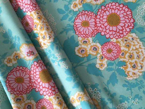 Joel Dewberry Botanique Bold Bouquet Teal Remnant 1/4 yard to 1/2 yard