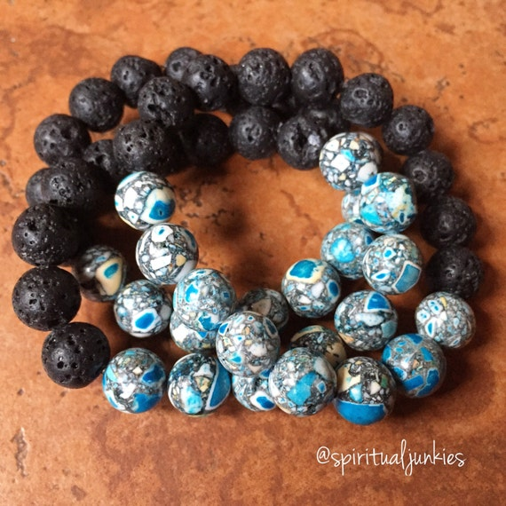 Stackable Funky Chunky 10 mm Essential Oil Diffuser Lava + Mosaic Turquoise Bead Spiritual Junkies Yoga and Meditation Bracelet (1 bracelet)