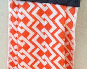 Hanging Kitchen Towel- Kitchen Towel- Orange Towel- Grey Kitchen Towel
