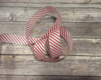 Red White Silver Stripe  Wire Edge Ribbon Christmas Tree Holiday Bow