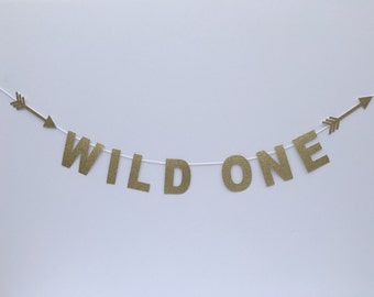 Glitter Wild One Banner-Birthday-Banner-Party Decorations-First Birthday-Tribal party-wild one party