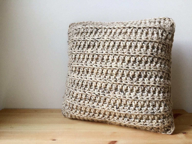 oatmeal chunky bohemian throw pillow -