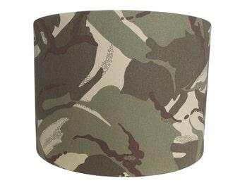 Handmade drum lampshade with cotton desert camouflage fabric