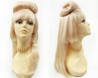 Fair Blonde Novelty Rolled Updo Wig Straight w/ Bangs. Costume Cosplay Festival Wig.