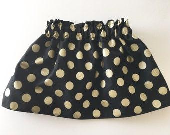 Black & Metallic Gold Polka Dot Twirl Skirt Newborn / Baby / Toddler / Girls Holiday