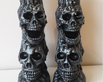 Pair of SKULL Candle Holder Ornaments - Gothic Halloween Pagan