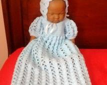Knitted crochet newborn baby boy christening / baptism robe & bonnet