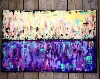 Original Abstract cityscape painting, purple, yellow black, water, bright modern wall art, urban, city, painting
