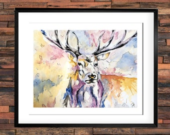 Elk watercolor, watercolorl print, animal, illustration, animal drawing, elk, portrait