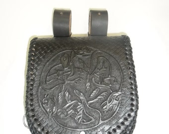 Leather Shoulder Crossbody Bag, Medieval, Fetish, Handmade, LARP, Fantasy, Gothic, Made to Order