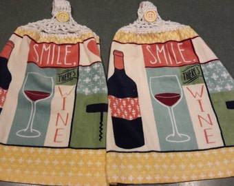 2 New Kitchen Hanging Towels with Crocheted Top / Smile - pink btns