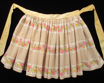 Vintage 1950's Golden Yellow and Pink Floral Print Half Apron