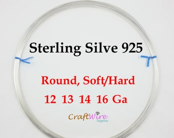 925 Sterling Silver Wire, 12 13 14 16 Gauge, ROUND, Dead Soft, Half Hard, Length Choice, Wholesale, 1 5 15 Feet, Jewelry wrapping craft