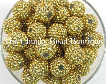20mm gold rhinestone bead