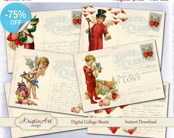 75% OFF SALE Happy Valentine's Day - Digital Collage Sheet Digital Cards C144 Printable Download Image Love Tags Digital Atc Card ACEO