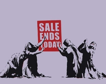 BANKSY Canvas Graffiti Sales Ends Today Wall Art Print Gallery Wrapped